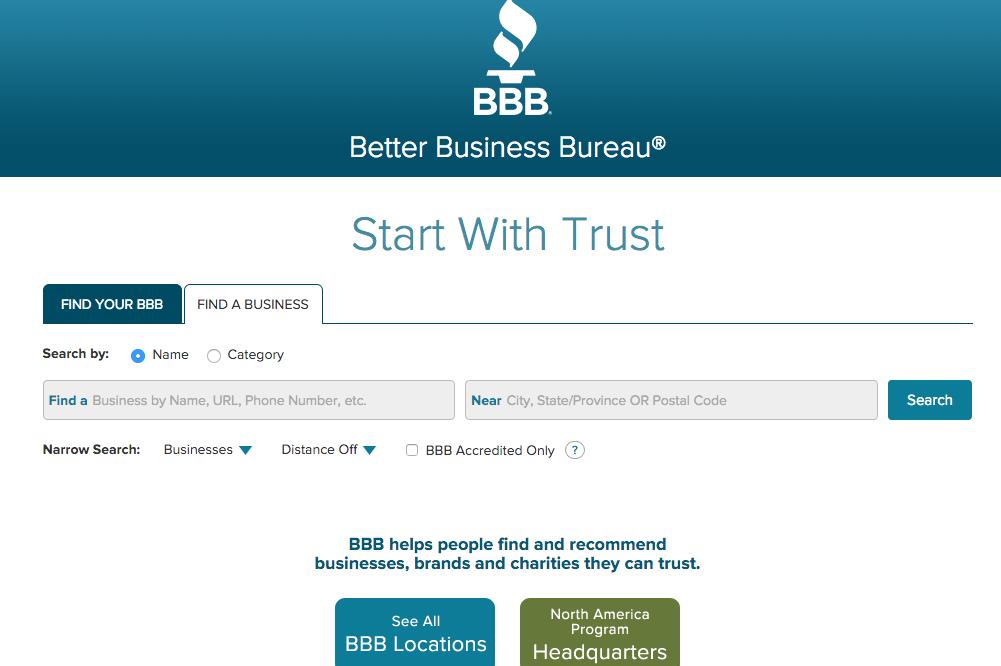 better business bureau website screenshot