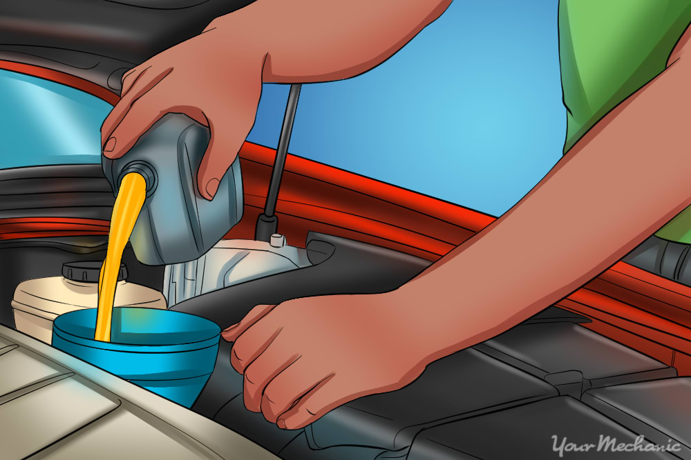 man changing the oil in a car