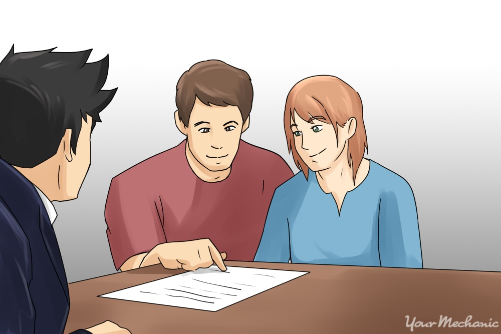 couple discussing paperwork