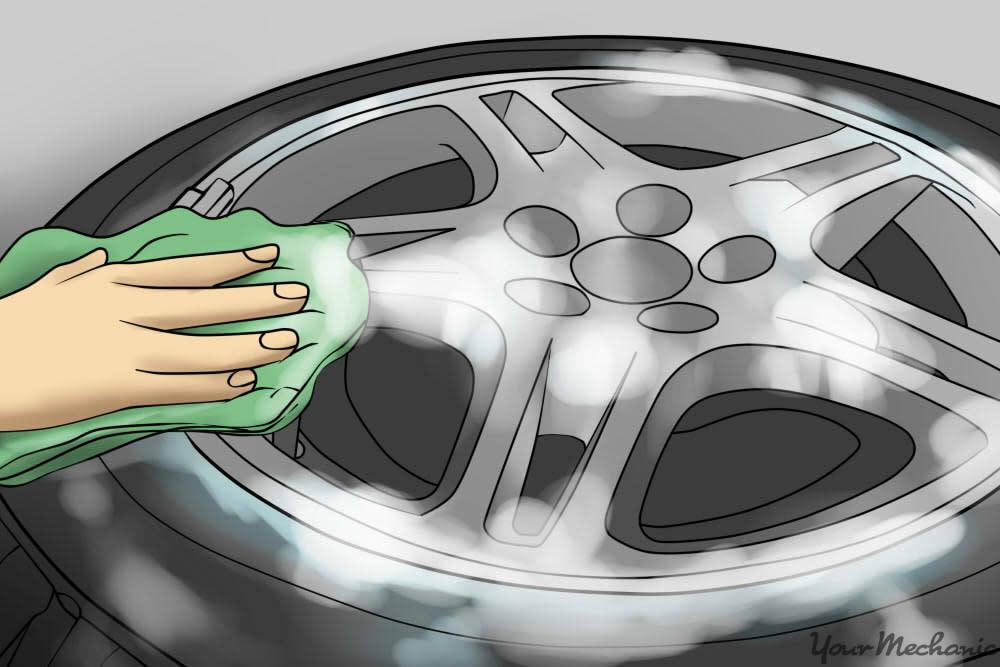scrubbing rim of wheel