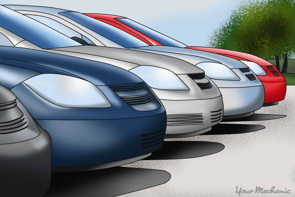 row of rental car options in parking lot