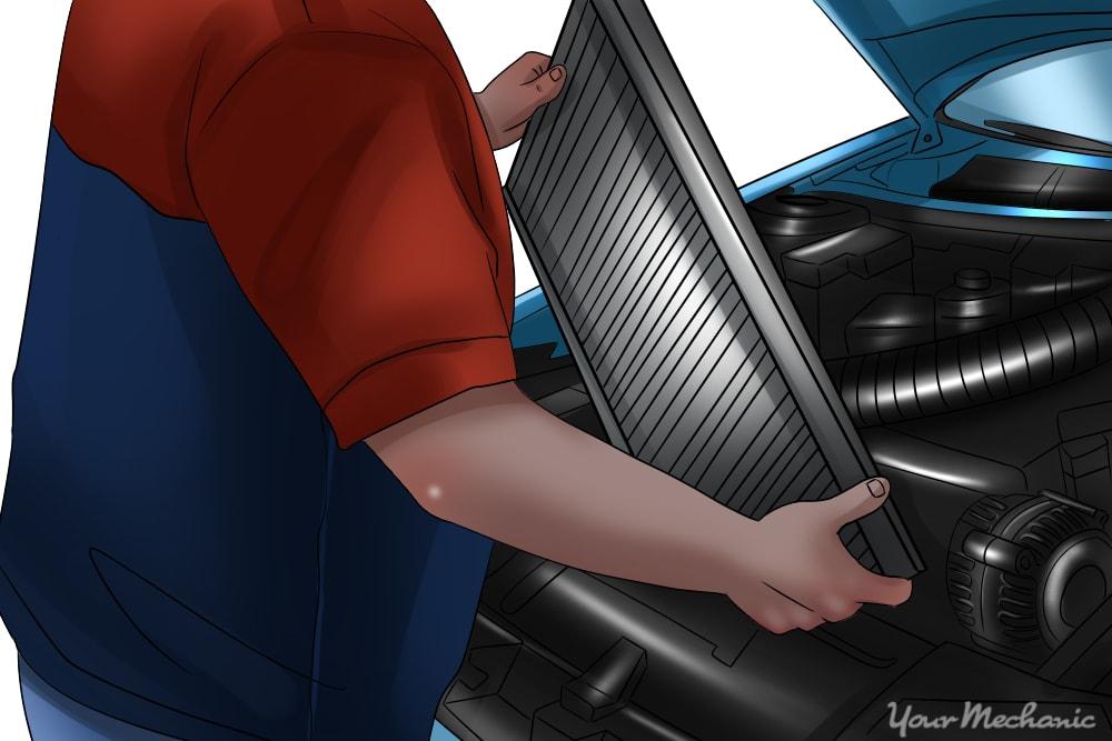 mechanic installing a new radiator