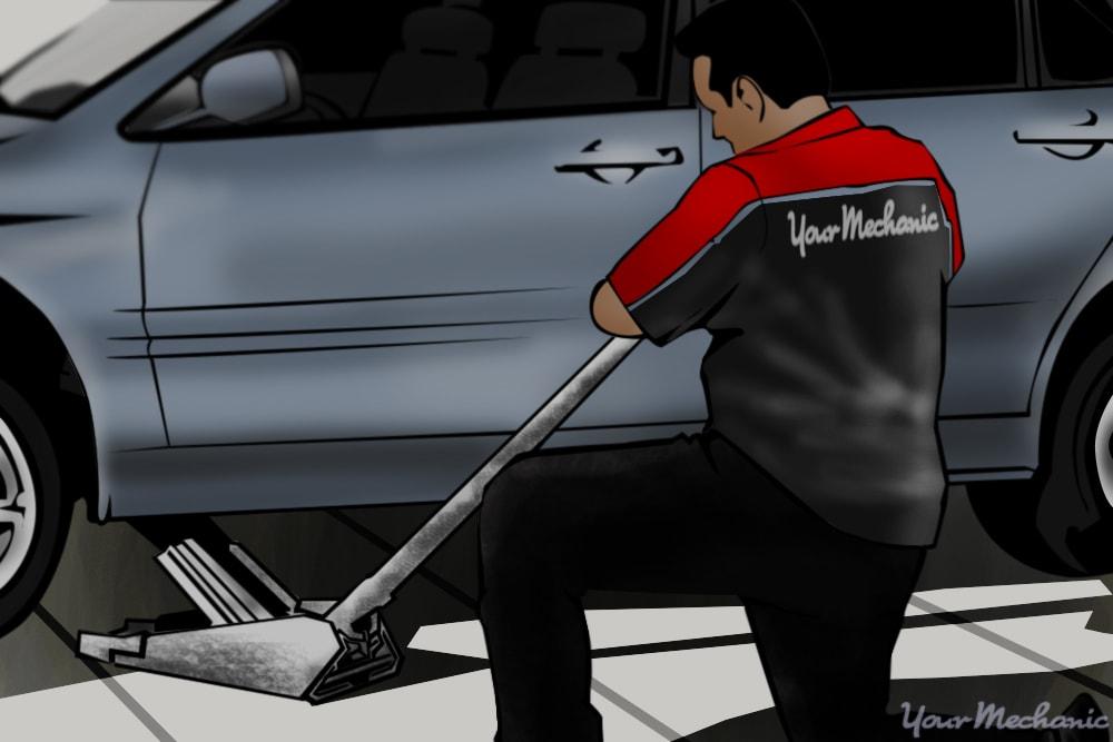 vehicle raised using a floor jack