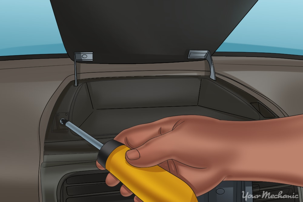 remove screw from dash up close