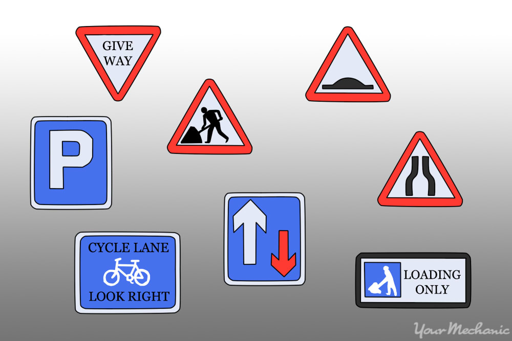 variety of traffic signs from england