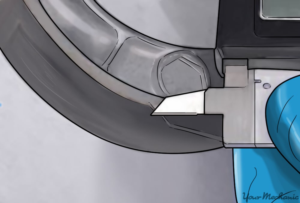 measuring the brake shoes with a digital micrometer