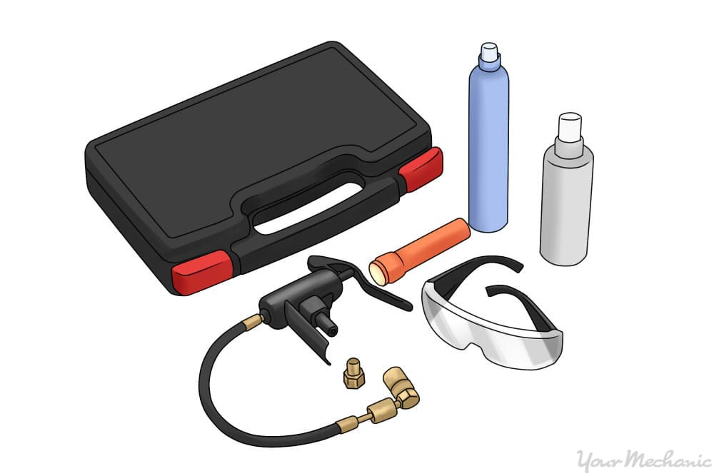 air conditioning dye kit with dye, glasses, and UV light