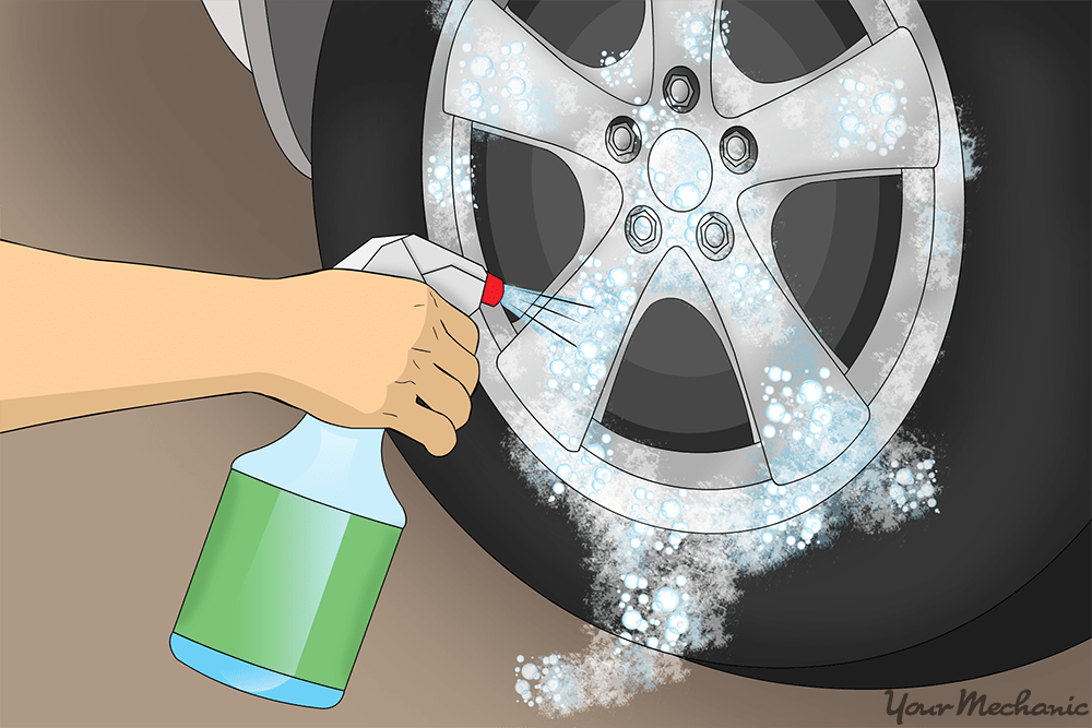 foam cleaner onto wheels