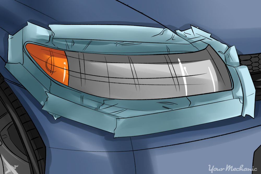 front headlight with tape around it