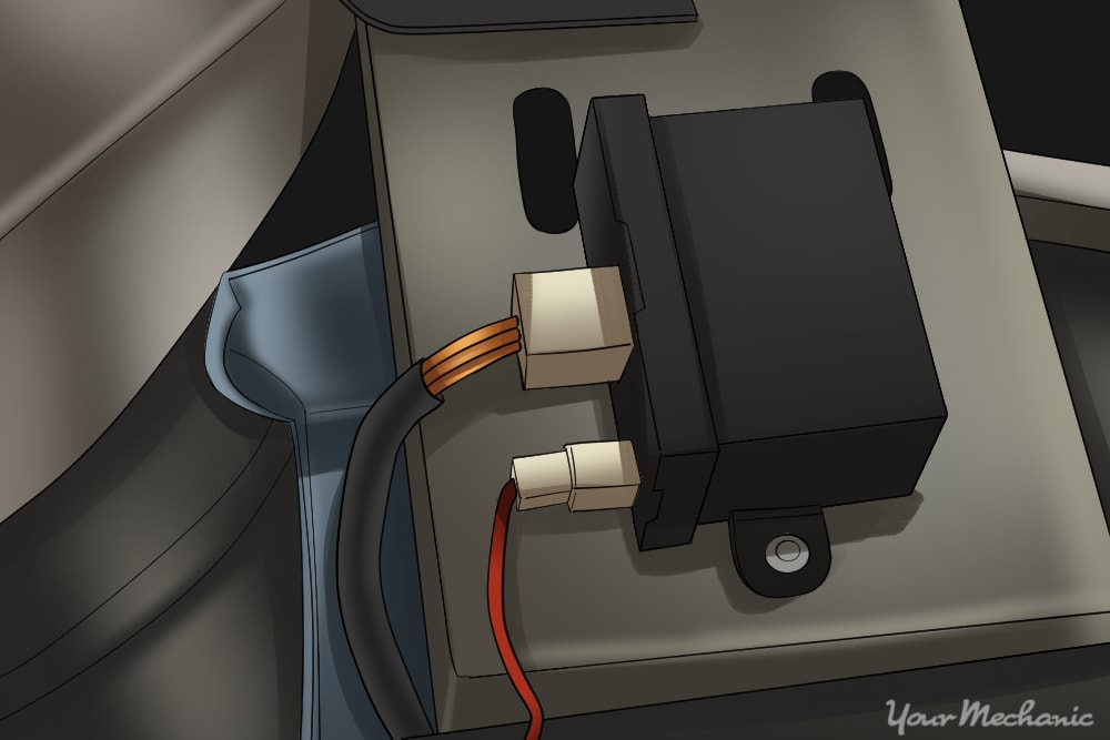 powertrain control module mounted to a vehicle