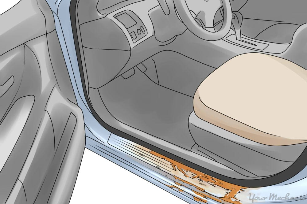 image showing rust inside of the door jamb