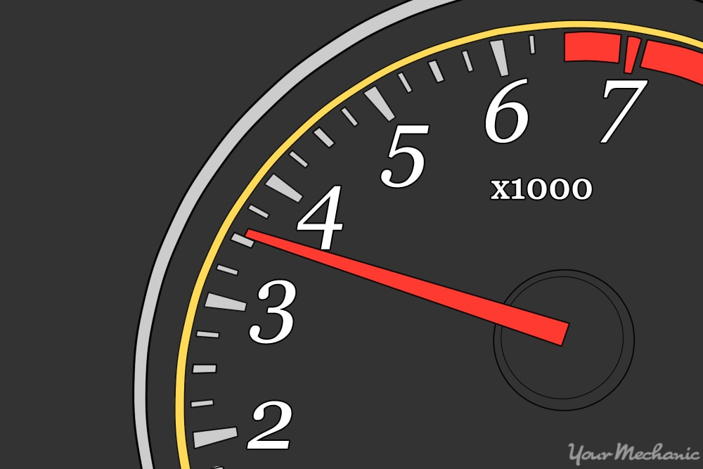 black and red tachometer