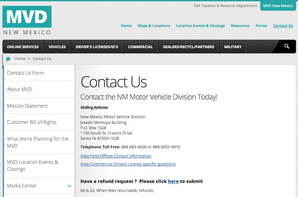 mvd New Mexico DMV contact