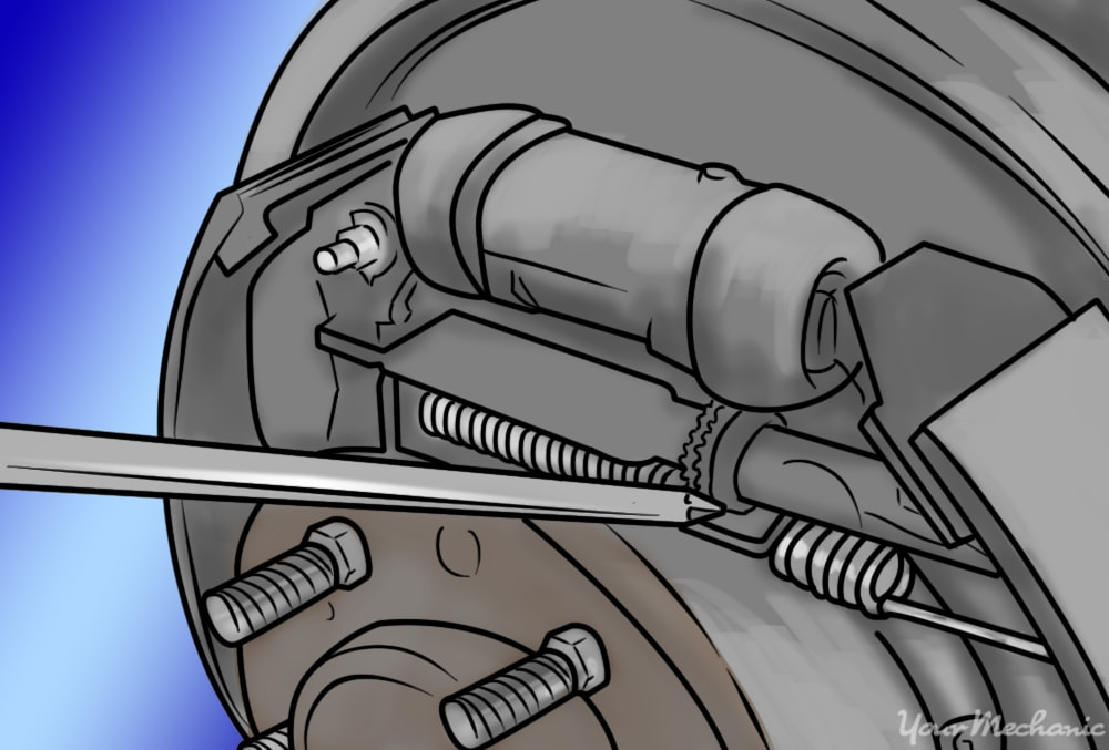screw driver being used to adjust brake shoe