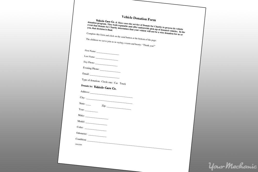 vehicle donation form