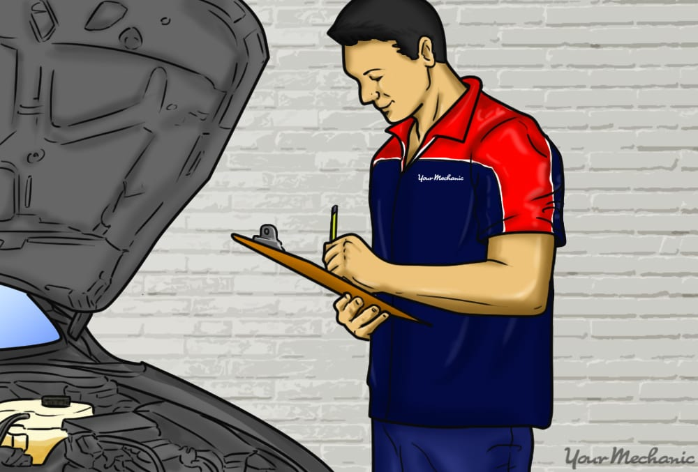 mechanic inspecing check under hood of car