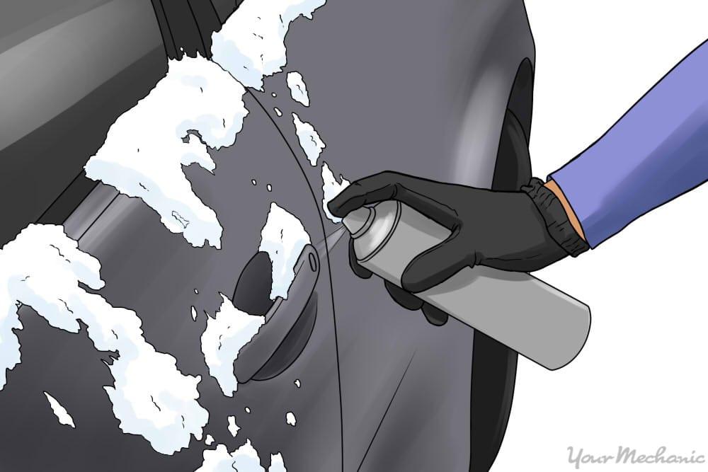 person sprayingde-icer