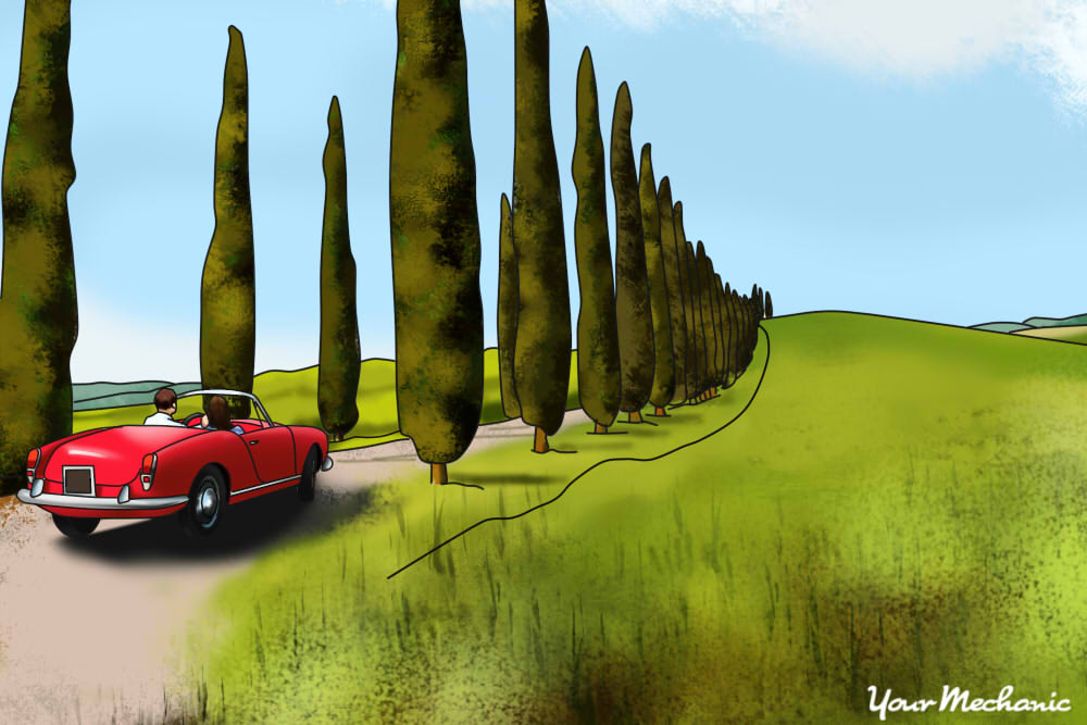car driving through country side