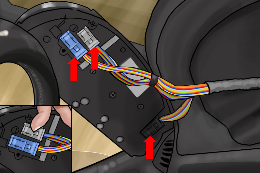 arrows pointing at wiring clusters