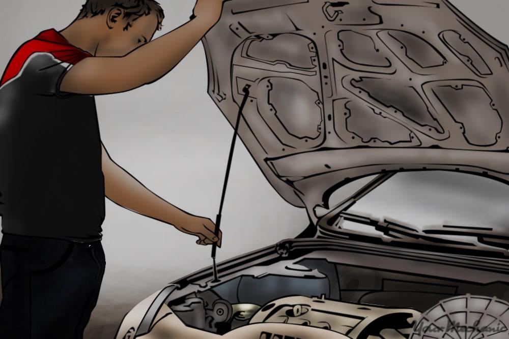 man opening up hood of car