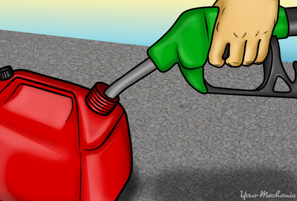fuel nozzle touching side of gas can