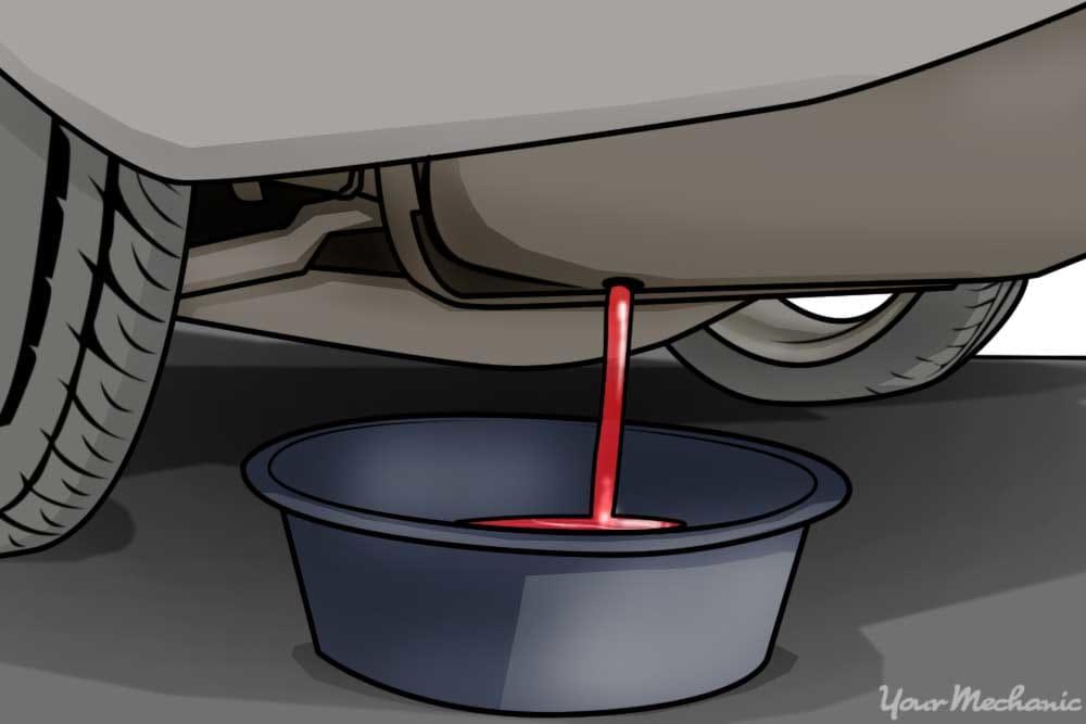 fuel draining into pan