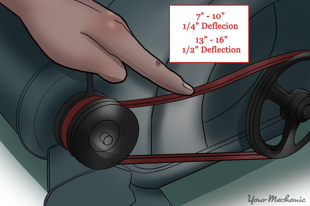 person double checking the drive belt