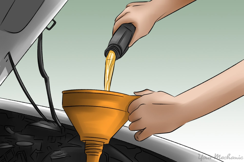 person pouring oil through funnel into oil reservoir in car engine