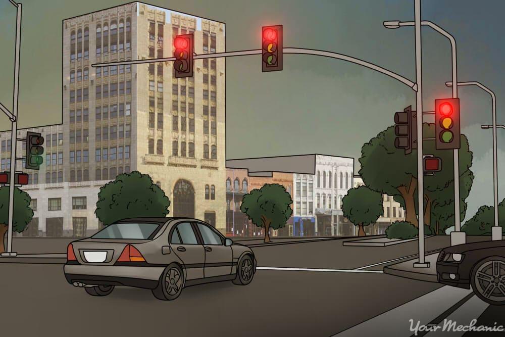 car running a red light