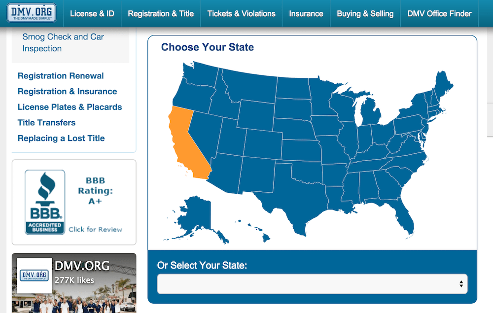 DMV registration site