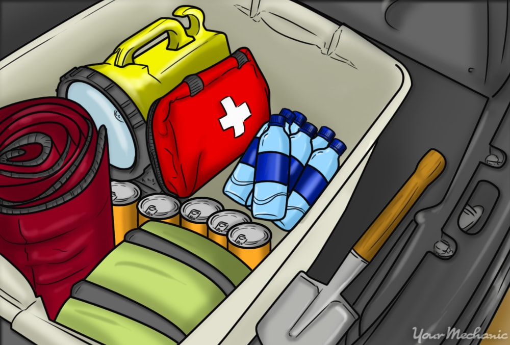 box with first aid and miscellaneous items