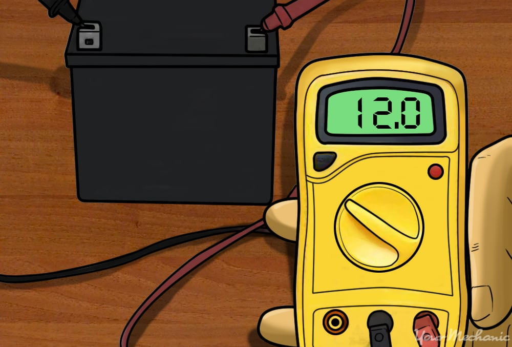 voltage meter showing a voltage reading of about 12 volts
