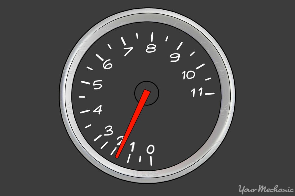 tachometer showing engine rev