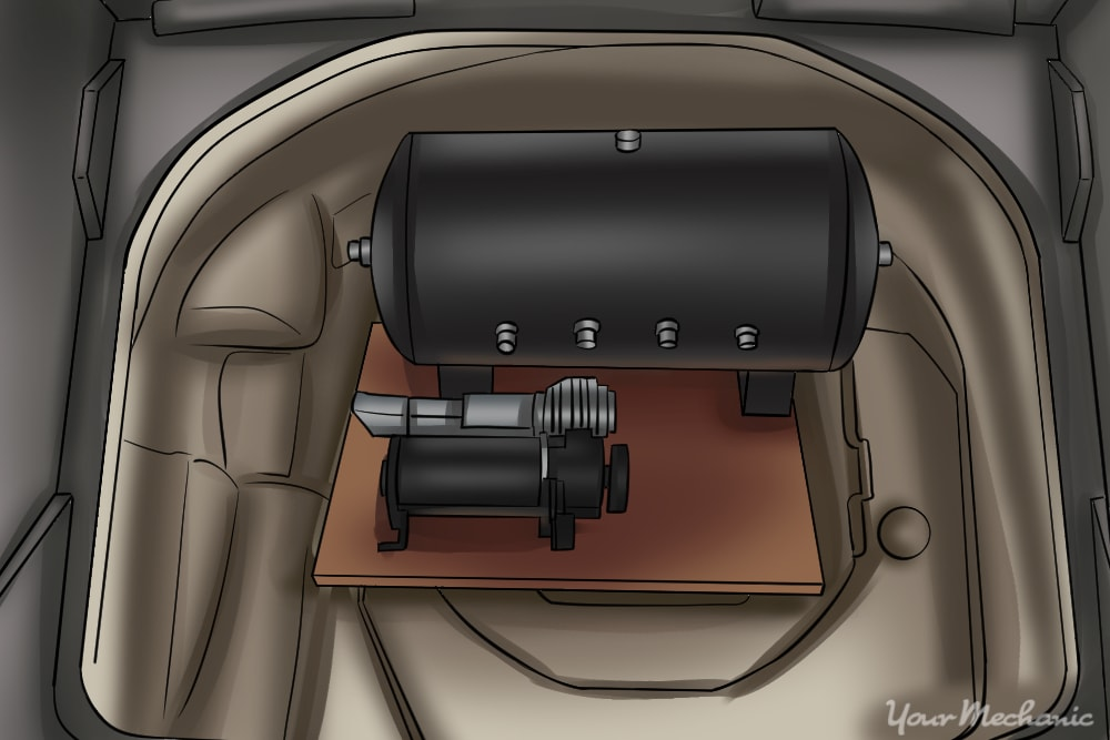 compressor and air tank in spare tire opening