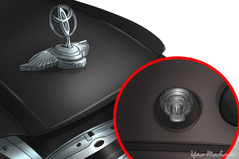 close up of car emblem bolt