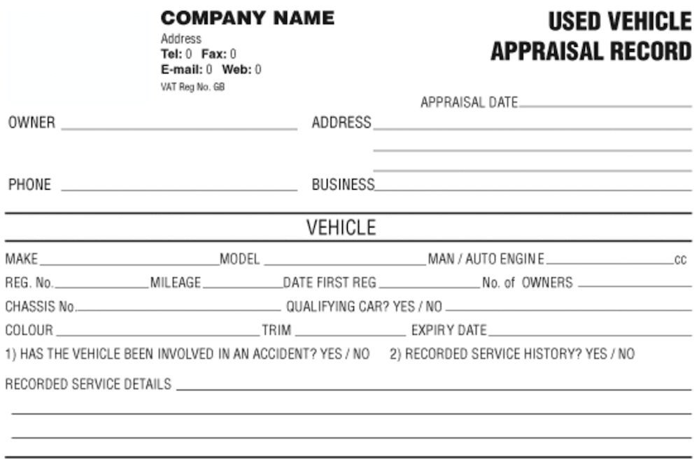 used car appraisal example