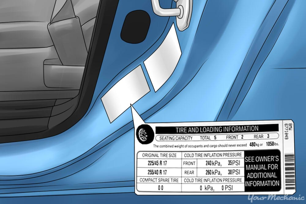 door placard with tire information within it