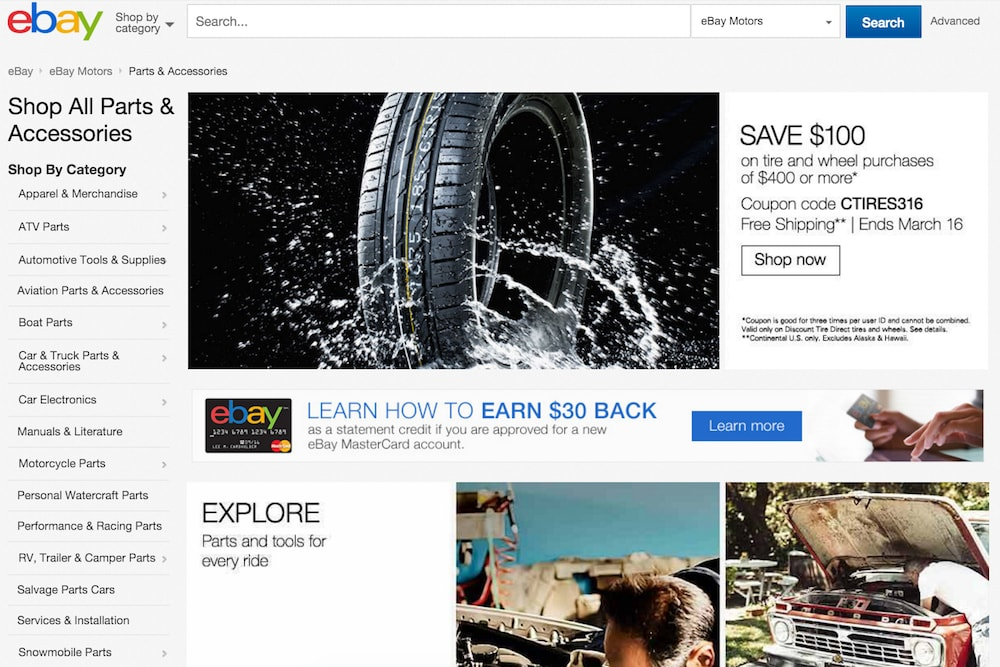 screenshot of ebay automotive section