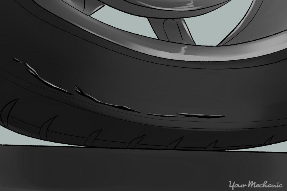 tire showing cracks