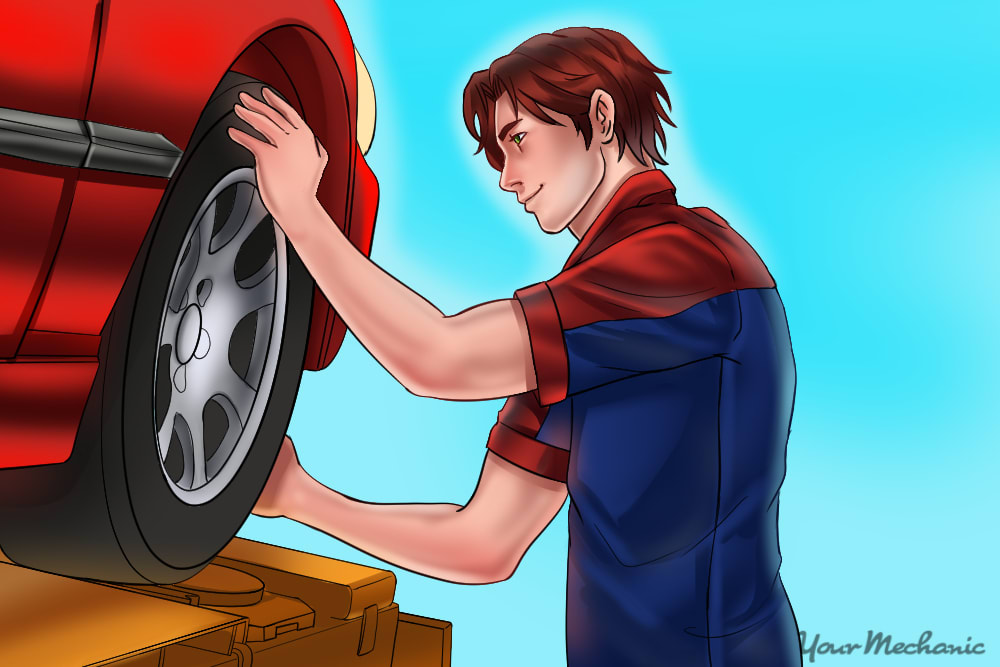 mechanic gripping a wheel on top and bottom of a tire on a raised vehicle