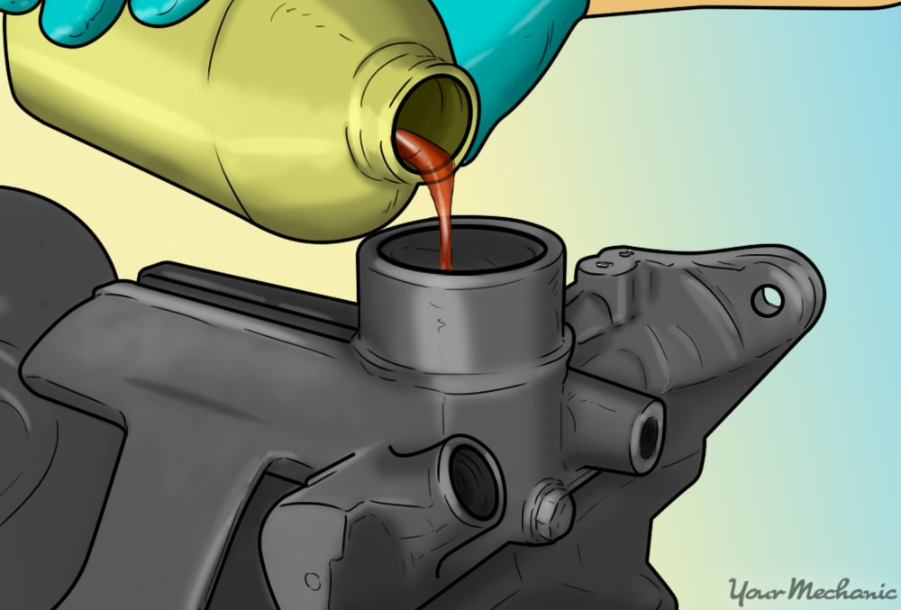 hand filling the master cylinder with brake fluid
