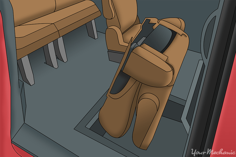 person folding seat into floor compartment