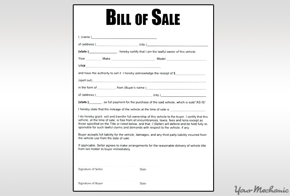 sample bill of same document