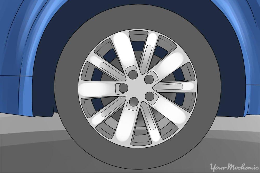 passenger tire mounted on rim