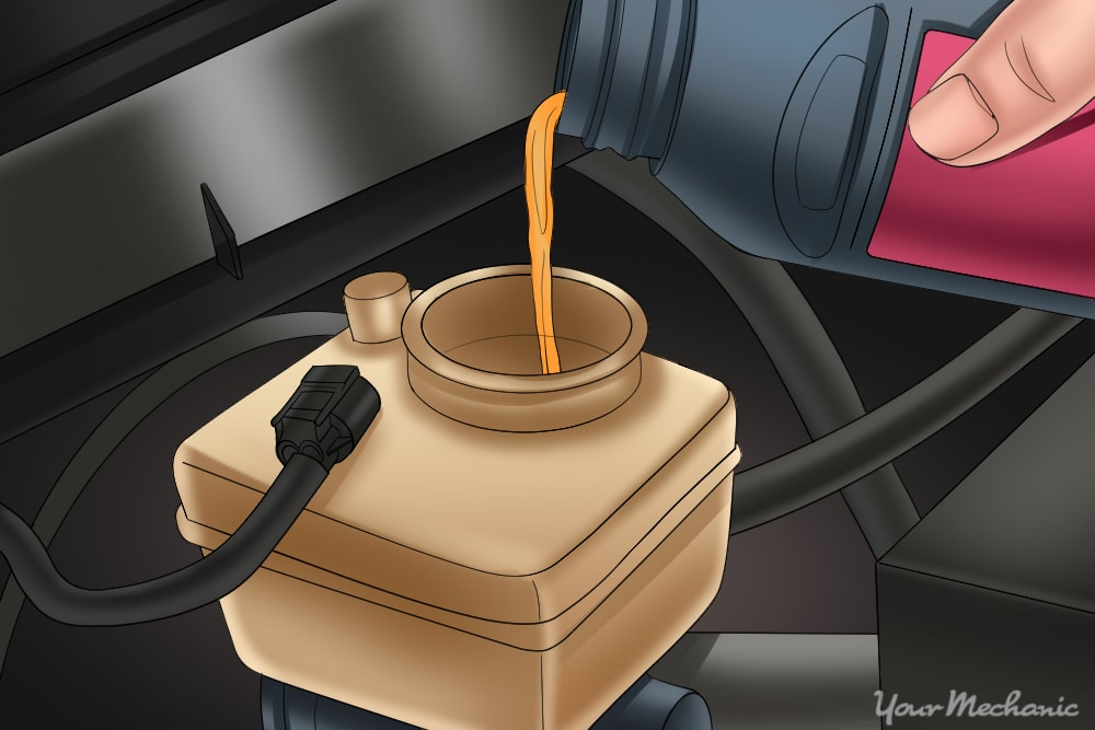 filling up master cylinder with brake fluid