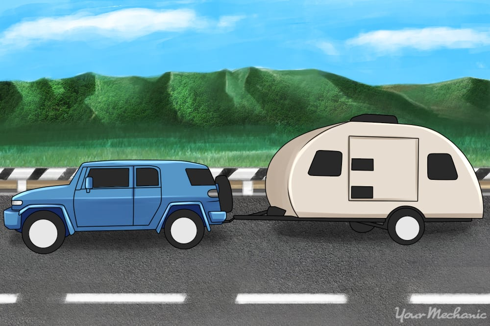 VW towing a trailer