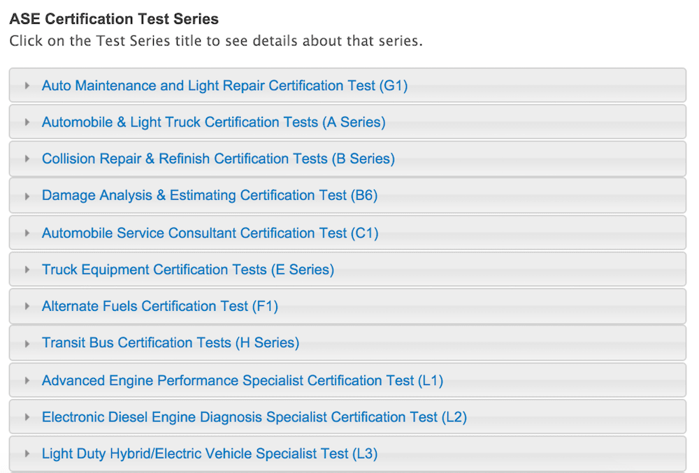 ASE certified test categories