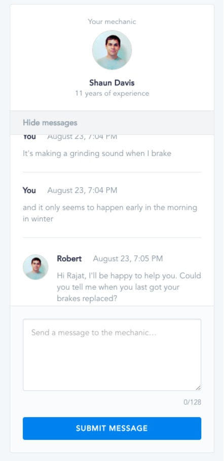 design and development chat feature