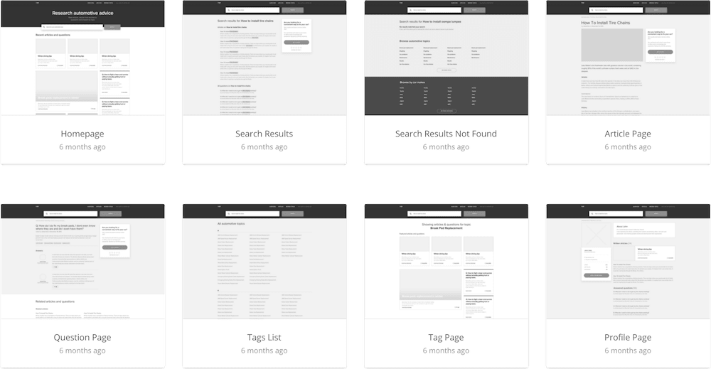wireframes of advice page