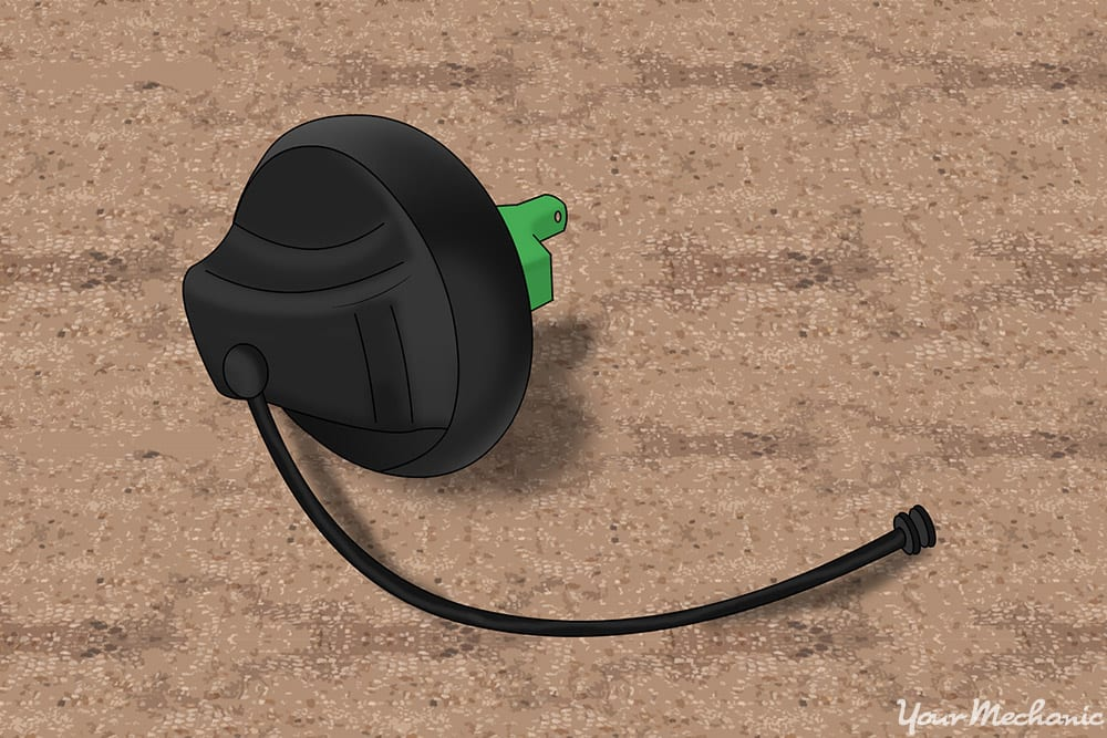gas cap leash connection to the vehicle body